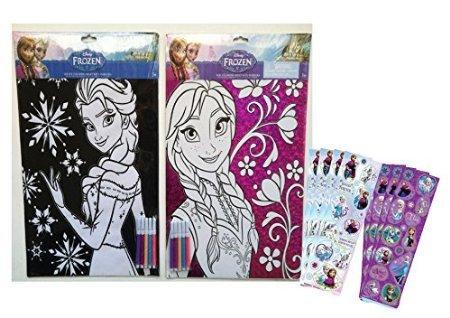 Disney Frozen Elsa Anna Coloring Sheets with Markers Set - 1 Princess Elsa Stationary Velvet Coloring Sheet