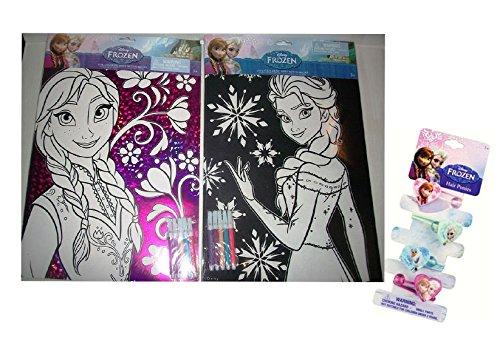 Disneys FROZEN Princess Elsa Princess Anna Velvet Foil Jumbo Coloring Sheet With Markers Included Plus Bonus 4pc Frozen Hair Accessory Set