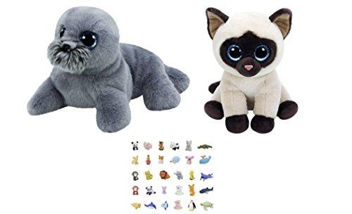TY Beanie Classic Set of 2 Medium 9-in Plush Toys Jaden Siamese Cat and Wiggy Seal Lion with One Bonus Animal Eraser