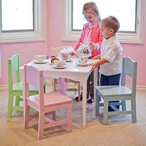 Pretty Pastel Color Girls Play Study Art Doll Tea Party Game Wooden Kids  Table And Chair