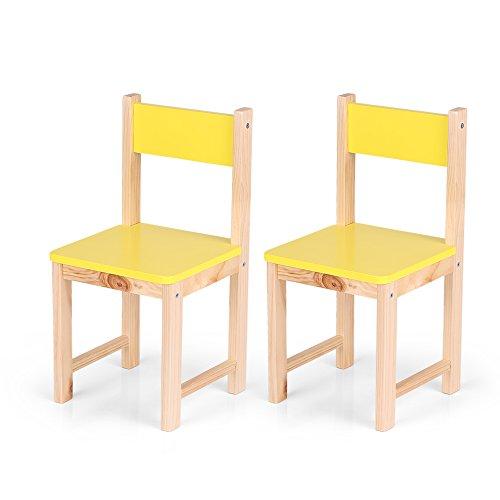 iKayaa Set of 2 Wooden Kids Chair Children Stacking School Chair Furniture Yellow