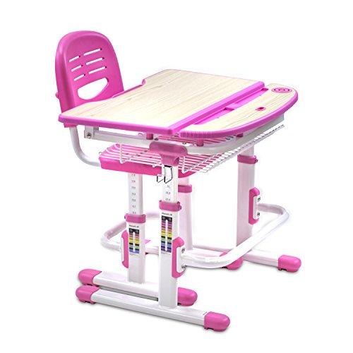 Mount-It Childrens Desk and Chair Set Kids School Workstation Height Adjustable Pink