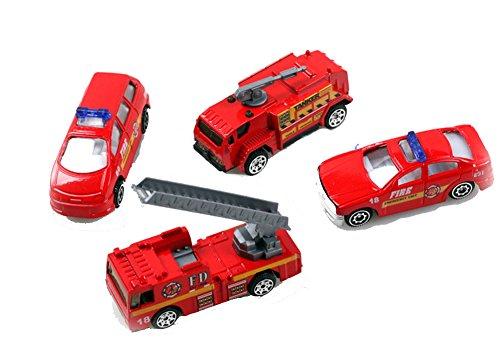 San Tokra 4Pcs Fire Trucks Model Alloy Metal Plastic Toy Cars for Children Gift