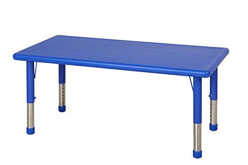 ECR4Kids 24 x 48 Rectangular Resin Adjustable Activity Table Blue