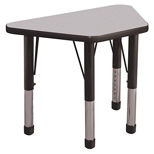 ECR4Kids 18 x 30 Trapezoid Activity Table Chunky Legs Gray TopBlack Edge