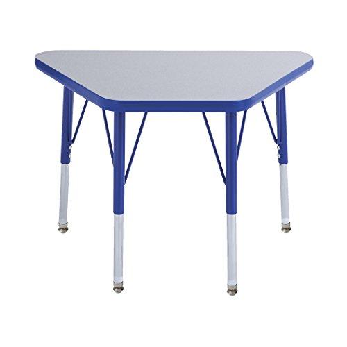 ECR4Kids 18 x 30 Trapezoid Activity Table Toddler Legs w Swivel Glides Gray TopBlue Edge