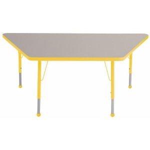 ECR4Kids Classroom 30 x 60 Adjustable Trapezoid Activity Table GreyYellow Standard Leg Ball Glide