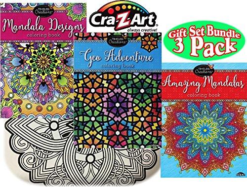 Timeless Collections Mandala Designs Geo Adventure Amazing Mandalas Premium 64 Page Adult Coloring Books Gift Set Bundle - 3 Pack