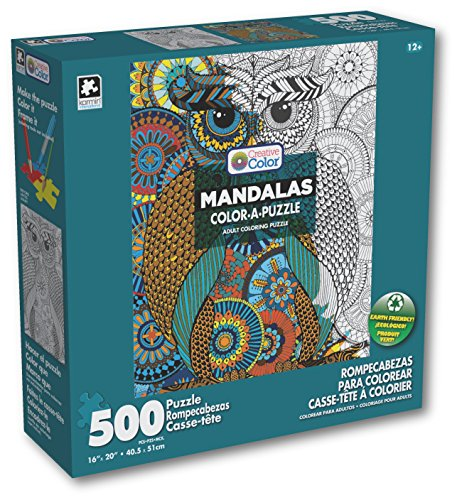 Karmin International Color a Puzzle - Mandalas Owl Design Puzzle 500 Piece