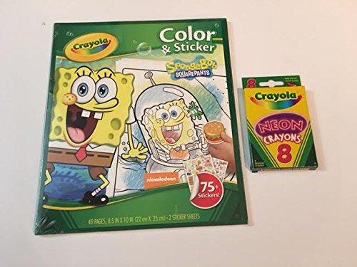 Bundle - 2 items 1 item Crayola Spongebob Coloring and sticker Book and 1 item Crayola Neon Crayons