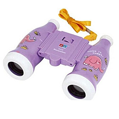 Lanlan 1 PCS Color Box Package ABS Material Purple Cartoon Bottle Style Variable Focus Binoculars Toy Bird Watching Hiking Educational Science Kits Toy Gift For Kids 6x25