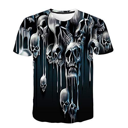 Men 3D Printing Short Sleeve Blouse T Shirt Skull Print Shirt Pullover Tops by Lowprofile Black