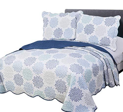 vivinna home textile Disperse Printing Quilt Set Twin Size 2-Piece68x88Blue Florencia Lightweight Hypoallergenic Microfiber Coverlet