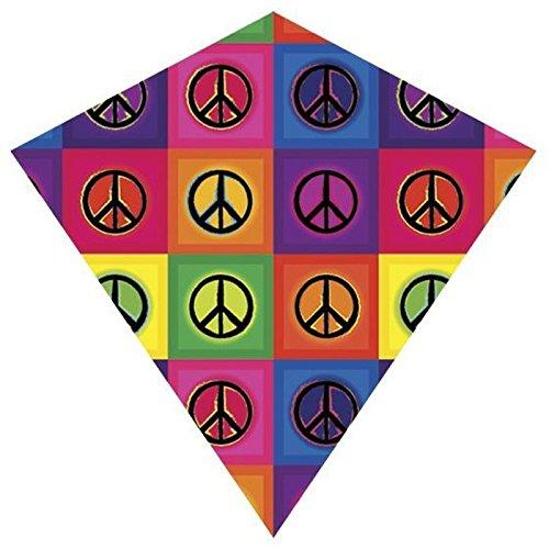 25 Inch Peace ColorMax Nylon Diamond Kite with Line WinderHandle
