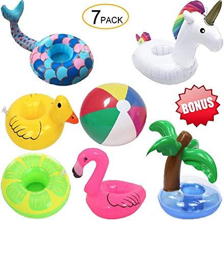 Inflatable Pool Drink Holder Floats for PoolBeach Unicorn Flamingo Mermaid Palm Tree Duck Lime Bonus 9 Multi-Color Beach Ball