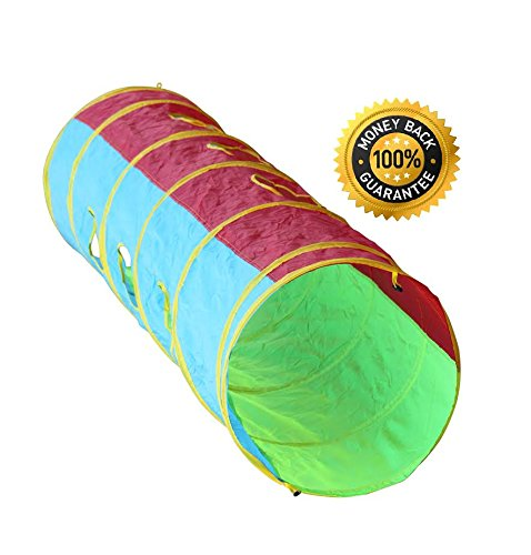 6-foot Peek-a-Boo Kids Play Tunnel Indoor Outdoor Pop up Child Crawling Tunnel Toy Tube by Hide-n-Side