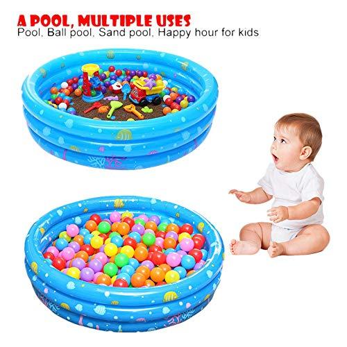 Three-Ring Circular Inflatable Swimming Pool salaheiyodd 【Ship from USA】Inflatable Kiddie Pool Ball Pool Family Kids Water Play Fun in Summer Swimming Ball Pool