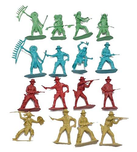 50 Pcs Indians Cowboys Western Figures Plastic Toys