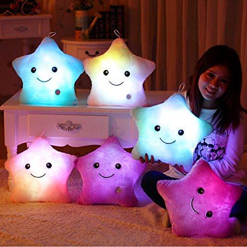 Wewill Creative Glowing LED Night Light Twinkle Star Shape Plush Pillow Stuffed Toys Blue