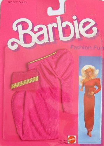BARBIE FASHION FUN Fashions w Red Gold GOWN PURSE 1984 Mattel Hawthorne