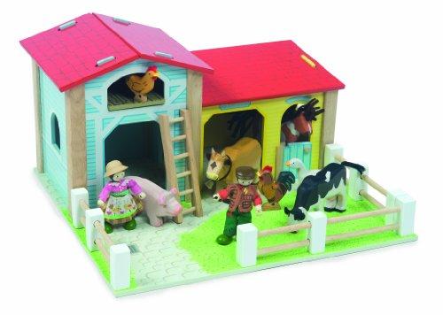 Wooden Le Toy Barnyard Farm and Barn Set