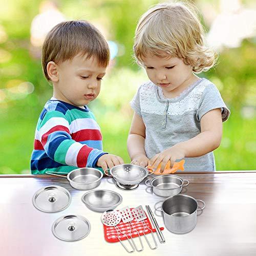 16 Pieces Kitchen Pretend Toys Stainless Steel Cookware Playset Varieties Pots Pans Cooking Utensils Kids by salaheiyodd