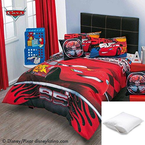 Disney-Pixar Cars Speed 5-Pc Comforter Set Twin Bundled with Two Pillow Protectors Queen