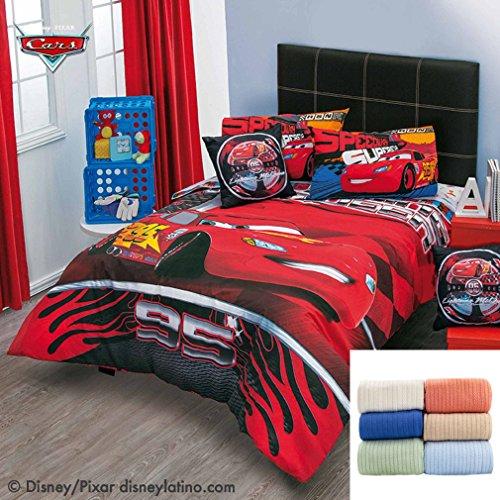 Disney-Pixar Cars Speed 7-Pc Comforter Set Full Bundled with Cozy Cotton Blanket FullQueen