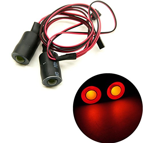 Red&Yellow 17mm 2 Leds Angel Eyes LED Car Lights HeadlightsTaillight for 110 RC Crawler Truck Car