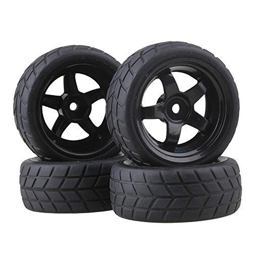 BQLZR Black RC 1 10 Flat Car 12mm Hub Wheel Rims 5 Spoke  Rubber Tires Pack of 4