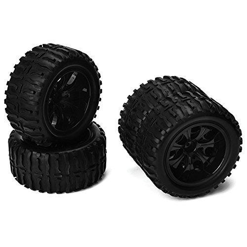 BQLZR Black RC 110 Truck Water Wave Tires  Plastic Wheel Rim 12mm Pack of 4