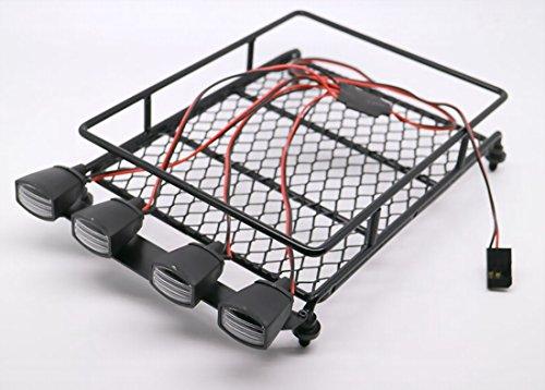 RC 110 Roof Luggage Rack LED Light Bar Wrangler Tamiya CC01 SCX10 Axial 512B