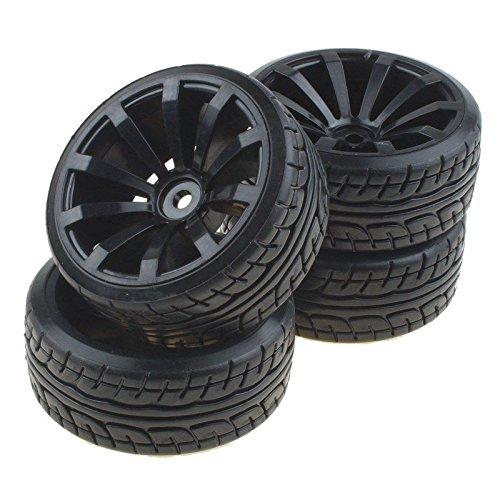 Shaluoman 10-Spoke Wheel Rims With Hard Tires For RC 110 Nitro Flat Racing Car Black