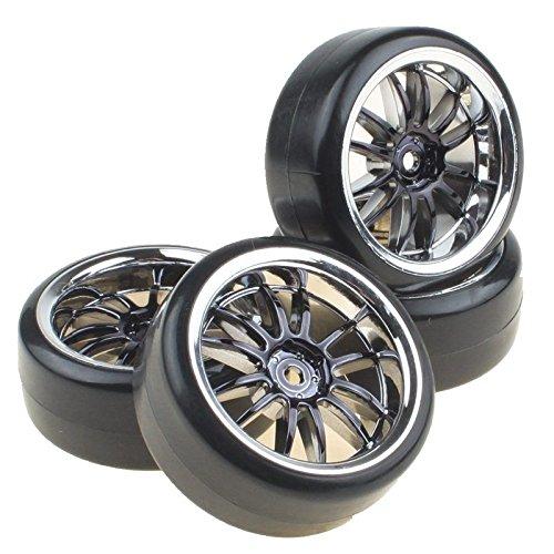 Shaluoman Plating 12-spoke Wheel Rims With Hard Plastic Tires For RC 110 Drift Car Color Black