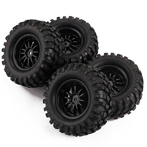 Yiguo RC 110 Off-Road Rock Climbing Car 12 Spoke Wheel Rims and 100mm Tires Black Set of 4