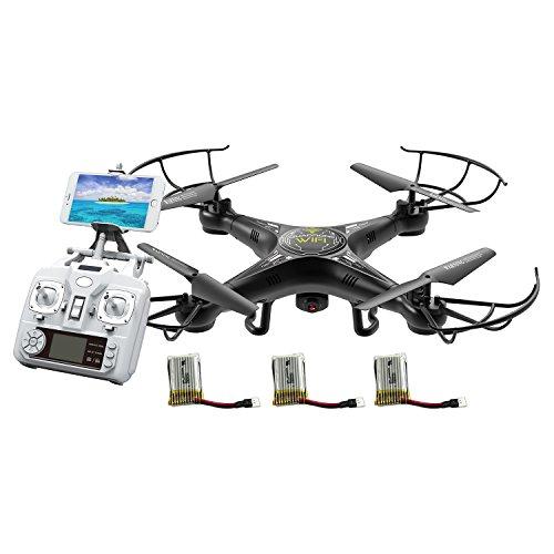 Alta Quadcopter Wi-Fi RC Drone with FPV Live Stream Camera Remote Control and 3 Batteries