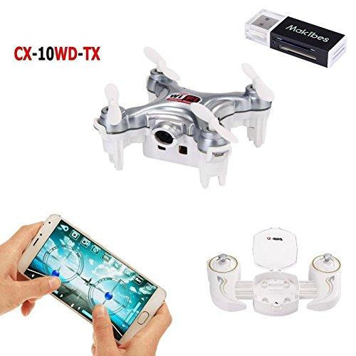 Cheerson CX-10WD-TX Wifi FPV Mini Drone with Remote Control 24G 4CH 6Aixs RC Quadcopter RTF Camera Live Video One With USB20 Memory Card Reader-Dark Grey