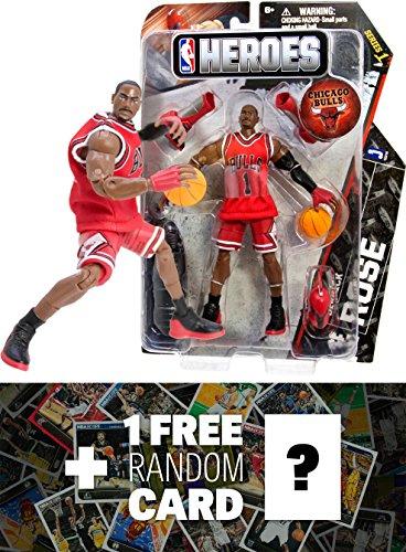 Derrick Rose - Chicago Bulls 1 NBA Heroes Action Figure Series  1 FREE Official NBA Trading Card Bundle