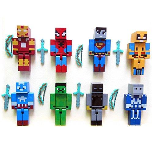 Minecraft Themed Super Hero Action Figures Mini Figures