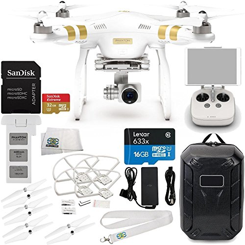 DJI Phantom 3 Professional Quadcopter w 4K Camera 3-Axis Gimbal Manufacturer Accessories  DJI Propeller Set  Water-Resistant Hardshell Backpack  Quick-Release Snap OnOff Prop Guards  MORE