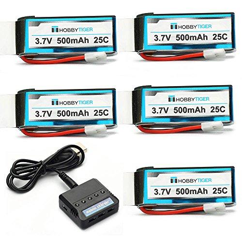 5PCS 37v 500mah Upgrade Battery for Hubsan X4 H107C H107L H107D H107P SYMA X11 X11C 5 Port Charger