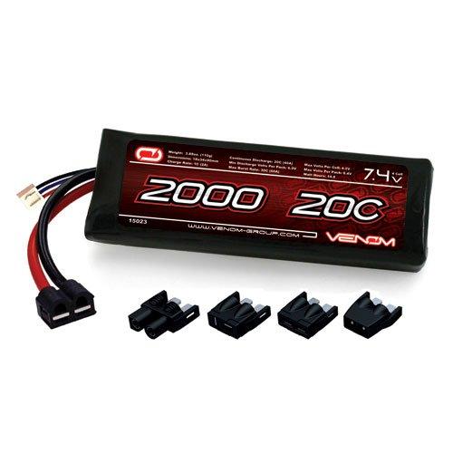 Venom LiPo Battery for Traxxas Summit 116 VXL 20C 74 2000mAh 2S with Universal Plug