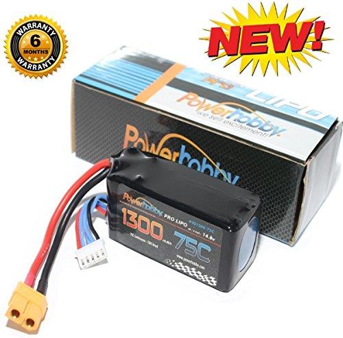 Powerhobby LiPo Battery Pack 1300mAh 75C 4S 148V with XT60 Plug for RC Boat Heli Airplane UAV Drone FPV