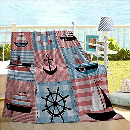 Mademai Farmhouse Decor Baby Blankets for BoysMarine Theme with Sea Elements Lifebuoy Sailboat Ship Figures on Striped SettingCooling Blanket Multi 50x80