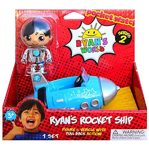 Ryans Pull Back Blue Rocket Ship Figure 3 World