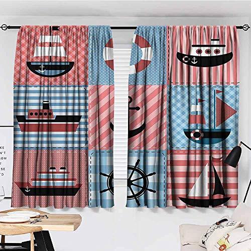 Waynekeysl Rod Pocket Window Curtains Marine Theme with Sea Elements Lifebuoy Sailboat Ship Figures On Striped Setting Total Length of Two Panels72W X 72L -Inch Multi