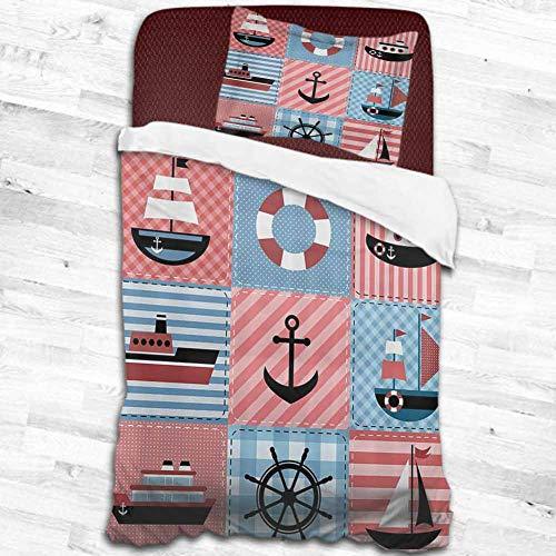 dsdsgog 100 Brushed Microfiber Farmhouse DecorMarine Theme with Sea Elements Lifebuoy Sailboat Ship Figures on Striped SettingMulti 53x79 Children Sleeping Mats