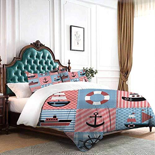 dsdsgog New Nordic Style Farmhouse DecorMarine Theme with Sea Elements Lifebuoy Sailboat Ship Figures on Striped SettingMulti 70x86 inch for Girl Boys Daycare Preschool Lightweight