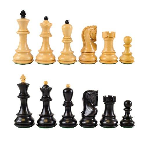 Zagreb 3 34 Ebonized Wooden Chess Pieces