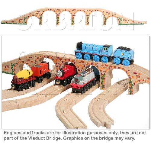 Orbrium Toys 6 Arches Viaduct Bridge for Wooden Railway Track Fits Thomas Trains Brio set